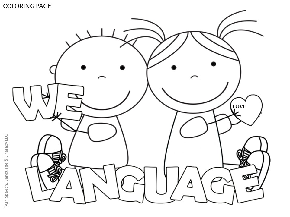 Free speech therapy door signs coloring pages twin for Therapeutic coloring pages for children