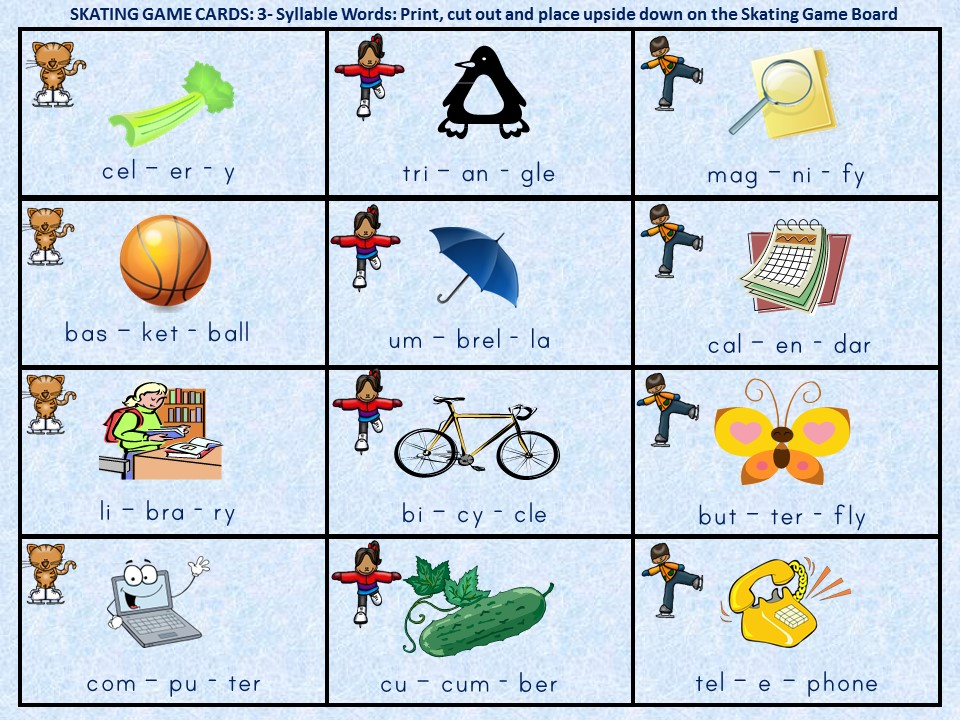 Winter Themed 3 4 Syllable Word Game Boards on Multisyllabic Words Worksheets
