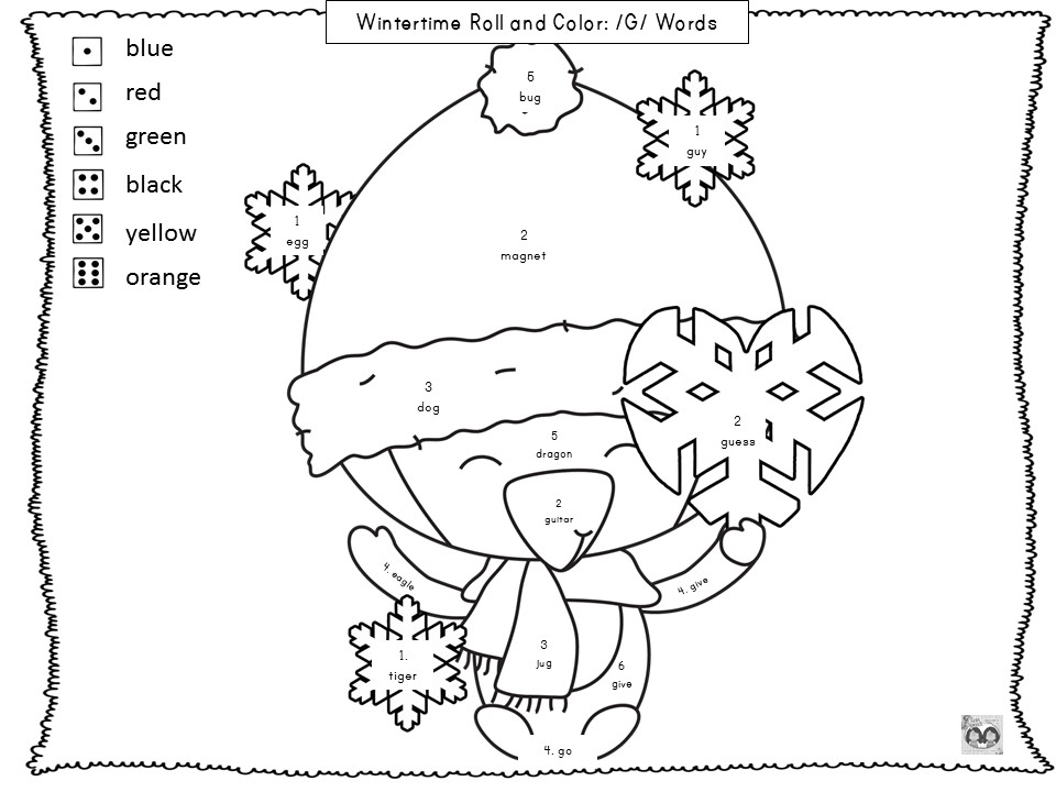 Speechie Freebies Wintertime Roll Color Say Articulation Freebie – R Articulation Worksheets